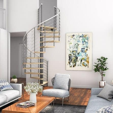 Living Room Spiral Staircases Paragon Stairs | Small Living Room With Stairs | Interior Design | Tiny | Cozy | Stairway | Bedroom