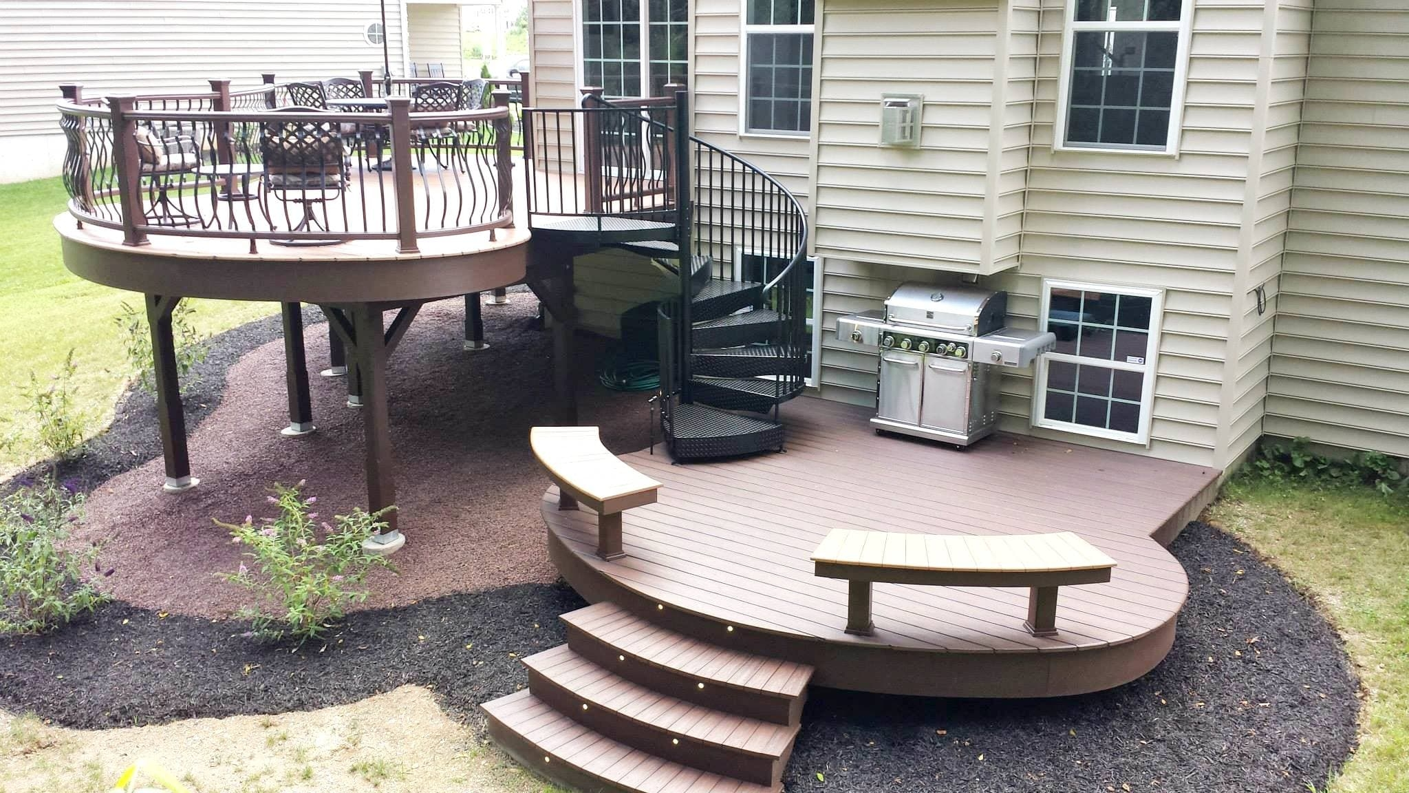 Five Weekend Diy Deck Projects Salter Spiral Stair | Spiral Staircase Outdoor Deck | Outside Deck | Built Spiral Stair | Balcony Outdoor | Log | 3 Storey