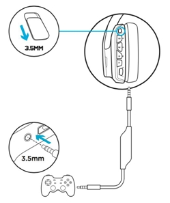 Connect the G633 gaming headset to compatible devices