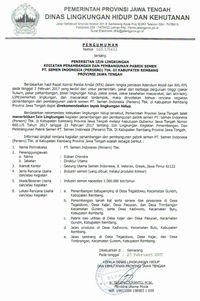 Pemprov Jateng Terbitkan Izin Lingkungan Pabrik Semen Di