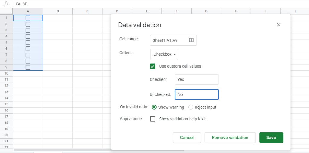 google sheets checkboxes data validation