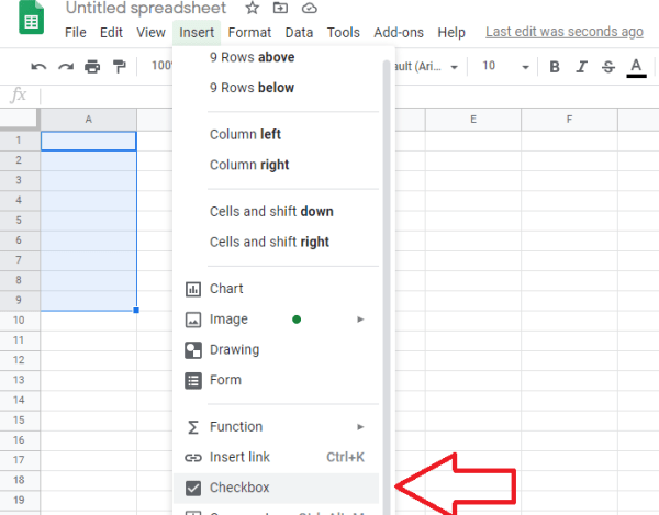 google sheets checkboxes how to add