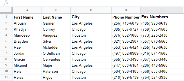 google sheets import range