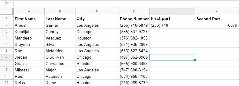 google sheets split text into column