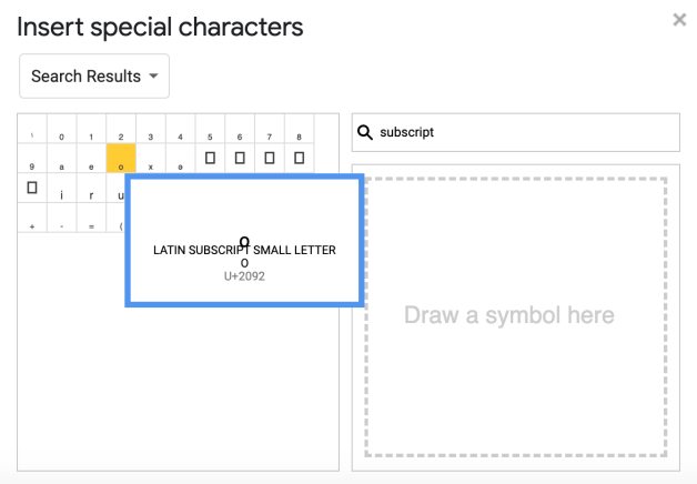 subscript in google docs special characters