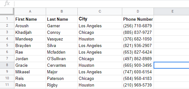 google sheets dummy data