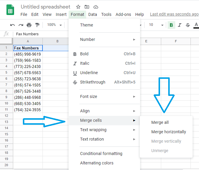 google sheets merge cells settings format menu