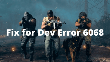 Fix for Dev Error 6068