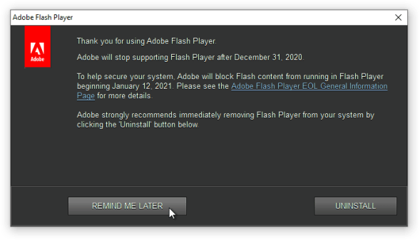 flash player dead