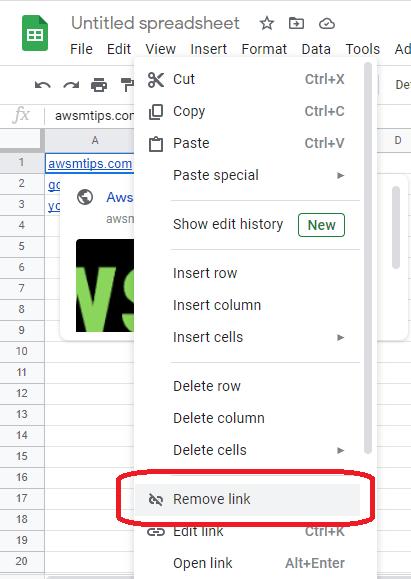 remove hyperlinks google sheets menu