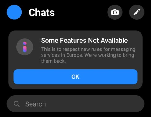 some features not available messenger