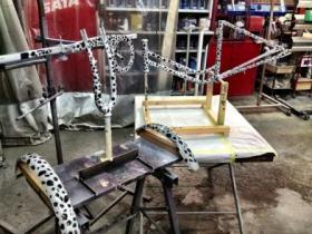 豹柄塗装自転車一式