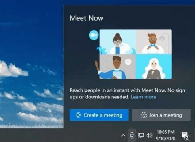 Screenshot Skype Meet Now bientot dans la barre des taches de Windows