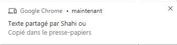 message chrome texte copié