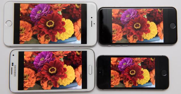 Screens test  iPhone 6 vs. iPhone 6 Plus vs. Samsung Galaxy S5