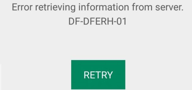 Google Play Store Server Error DF-DFERH-01 Error Fix