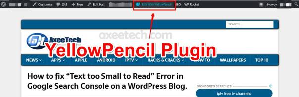 Text too small to read error wordpress Yellow Pencil Plugin