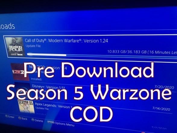 Pre Download Season 5 Warzone COD