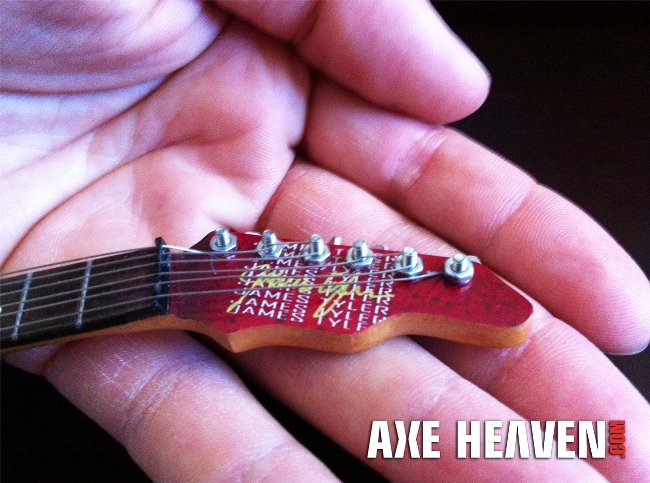 Even the head stock is duplicated in fine detail on the Erik Buell Custom Miniature Guitar Replica Collectible by AXE HEAVEN®.