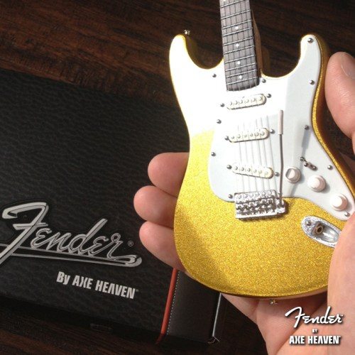 Officially Licensed Miniature Metallic Gold Fender™ Strat™ Guitar Replica