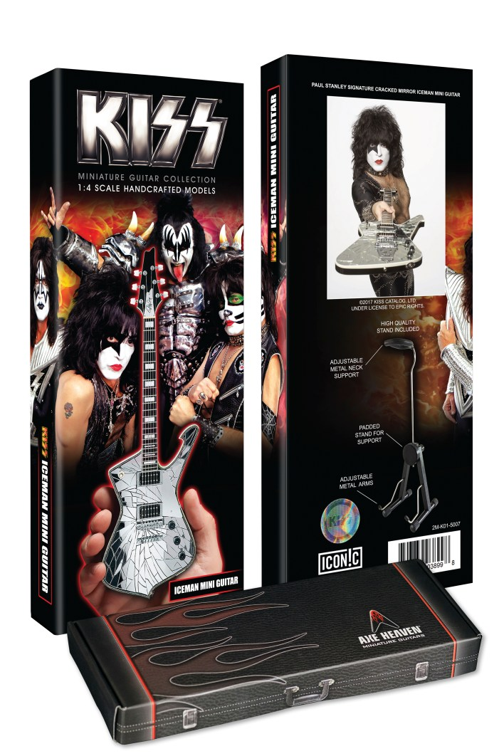 Custom Package for Officially Licensed KISS® Logo Paul Stanley Cracked Mirror Iceman Miniature Guitar