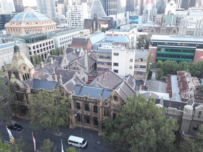 The Old Melbourne Gaol, old City Police Station and City Courts buildings just right across. They're now occupied by the RMIT University.