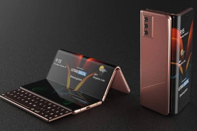 對摺又對摺,三星新專利顯示 Galaxy Z Fold3 有雙摺疊螢幕與滑動式副螢幕鍵盤?