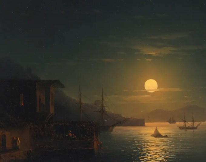 Ivan Konstantinovič Ajvazovskij (Russian, 1817-1900), Лунный свет на Босфоре:Moonlight on the Bosphorus (1865) Oil on panel, 24.5 x 30.5 cm Private collectio