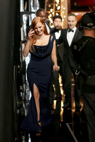 Jessica Chastain backstage