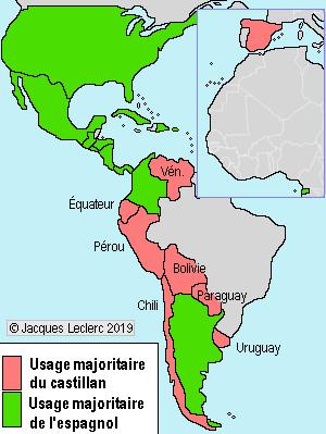 Carte Des Pays Hispanophones Dans Le Monde : carte, hispanophones, monde, Castillan, Espagnol