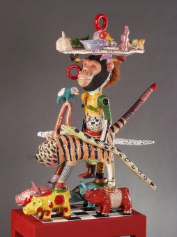 Freida the Cat - J.Fred Mugs and the Fabulous Porkers, 2004, Terracotta Glaze and Mixed Media