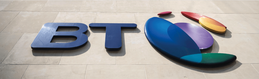 BT logo on a wall