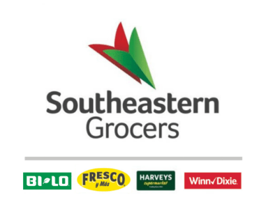 Southeastern Grocers brand logos—BI-LO, Fresco y Más, Harveys Supermarket and Winn-Dixie