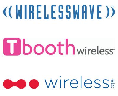 Glentel brand logos—WIRELESSWAVE, Tbooth wireless, WIRELESS etc.