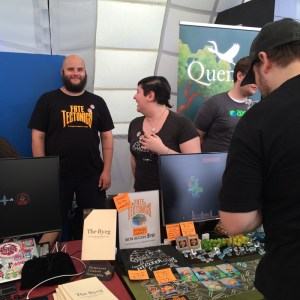 Alex and Rosemary, at the Fate Tectonics booth, our neighbours!