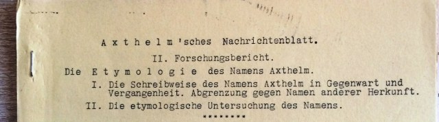 2. Forschungsbericht - Die Etymologie des Namens Axthelm