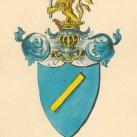 Von Axthelm Wappen bunt - Aquarell, Dobrà Voda, um 1860