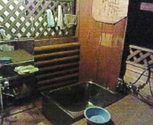 手作り半露天風呂。