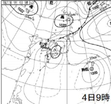 2011年9/4 地上天気図