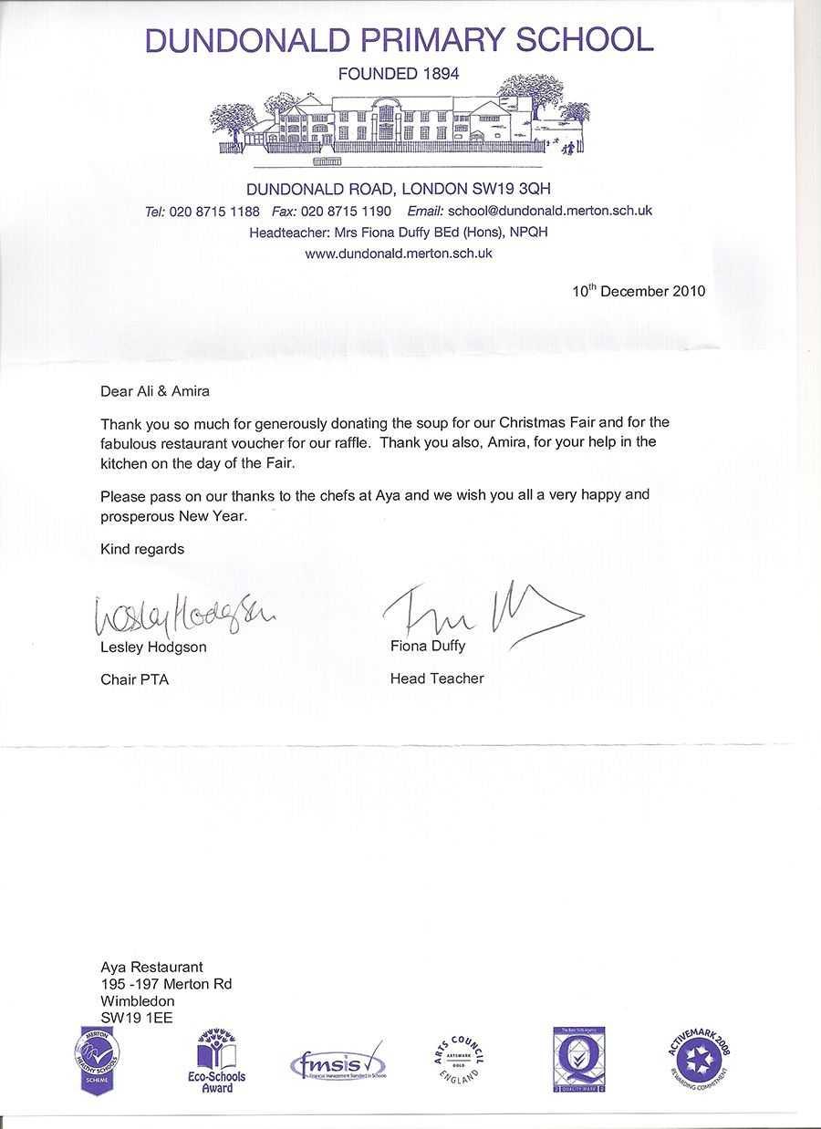Christmas Fair Letter