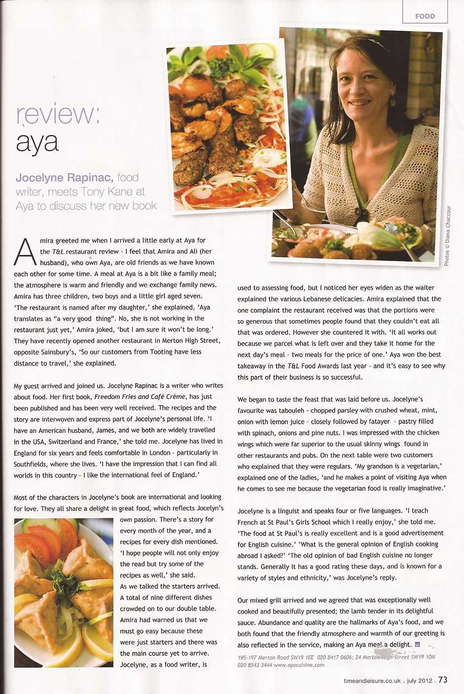 Review Aya Restaurant by Time & leisure Tony with guest