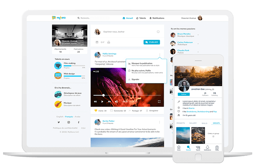 Social network for young creatives UI design