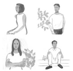 モノクロ 男性 女性 植物
