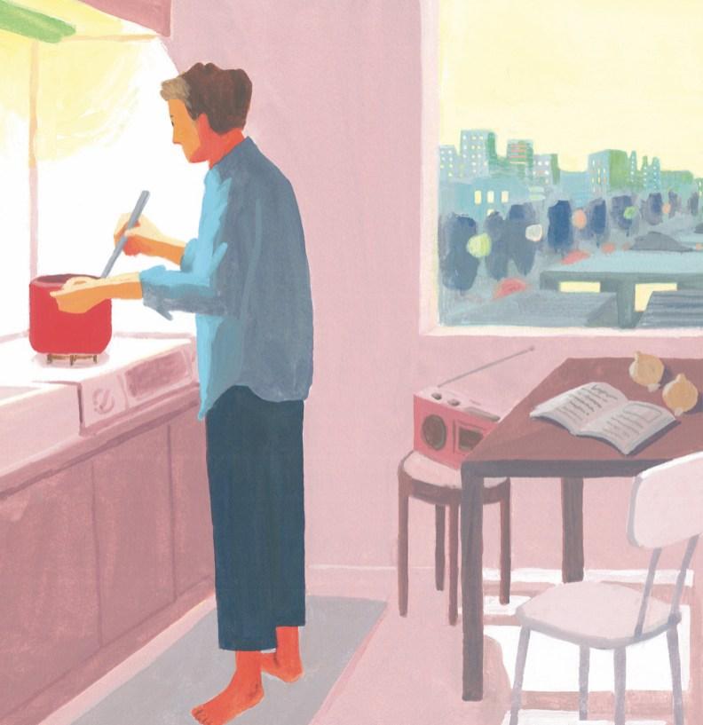 男性 部屋 キッチン 料理