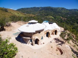 The super adobe home from the sky. Photo courtesy of www.simonphotovideo.com