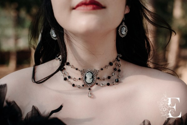 Ayame Designs handcrafted beaded Victorian cameo choker necklace