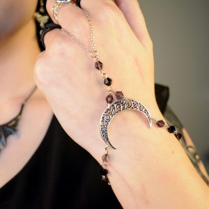 Ayame Designs handcrafted stainless steel moon hand bracelet