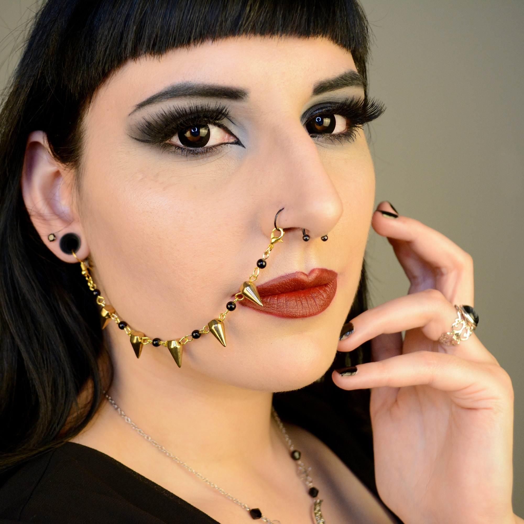 Ayame Designs handcrafted gold spiked beaded nose to ear chain