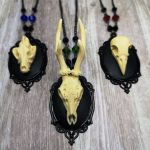 Ayame Designs handcrafted gothic beaded skull necklace