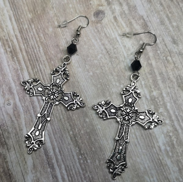 Ayame Designs handcrafted gothic byzantine cross earrings
